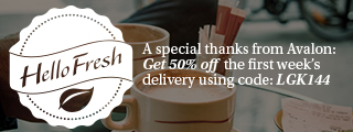 HelloFresh - A special thanks from Avalon: Get 50% off the first week's delivery using code: LGK144